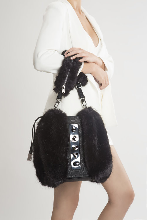 FruitenVeg-KULU bag-vegan-faux fur satchel bag-fake-fur- 14187949e400f