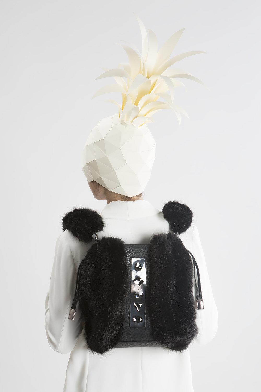 FruitenVeg-KULU bag-vegan-faux fur satchel-fake-fur-medium-black-rhinestones-designer-backpack-nyc