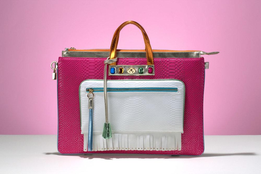 FruitenVeg-MULAYA bag-vegan-eco-leather-faux-exotic-skins-large-luxury-laptop-backpack-pink-white-orange-nyc-handbag-designer