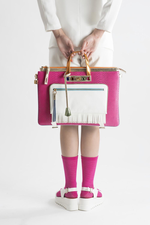 FruitenVeg-MULAYA bag-vegan-eco-leather-faux-embossed-croco-large-laptop-backpack-pink-white-orange-rhinestones-nyc-handbag-designer