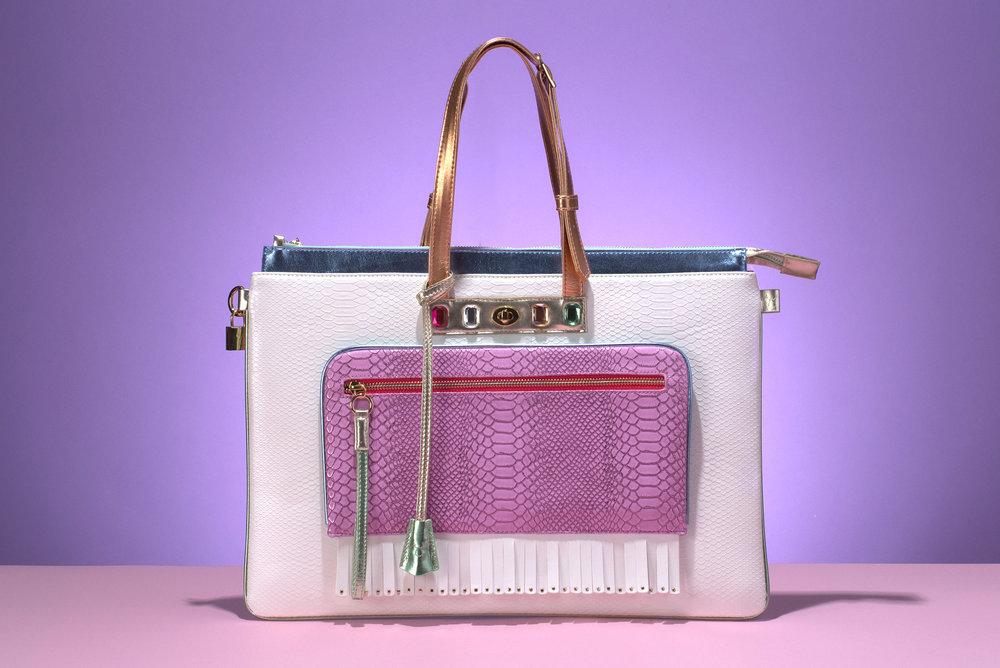 FruitenVeg-MULAYA bag-vegan-eco-leather-croc-embossed-large-laptop-tote-white-purple-nude-rhinestones-nyc-handbag-designer