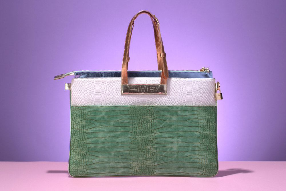 FruitenVeg-MULAYA bag-eco vegan leather-croc-embossed-big-luxury-laptop-handbag-green-white-nude-nyc-handbag-designer