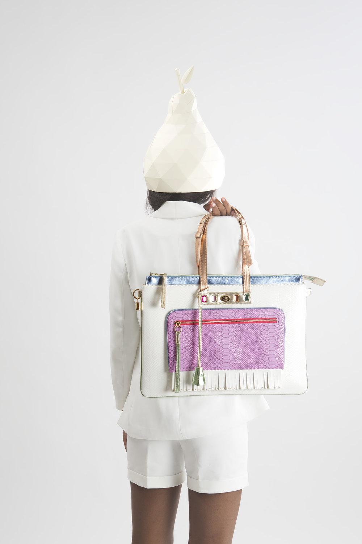 FruitenVeg-MULAYA bag-vegan-eco-leather-croc-embossed-large-laptop-tote-bag-white-purple-nude-nyc-handbag-designer