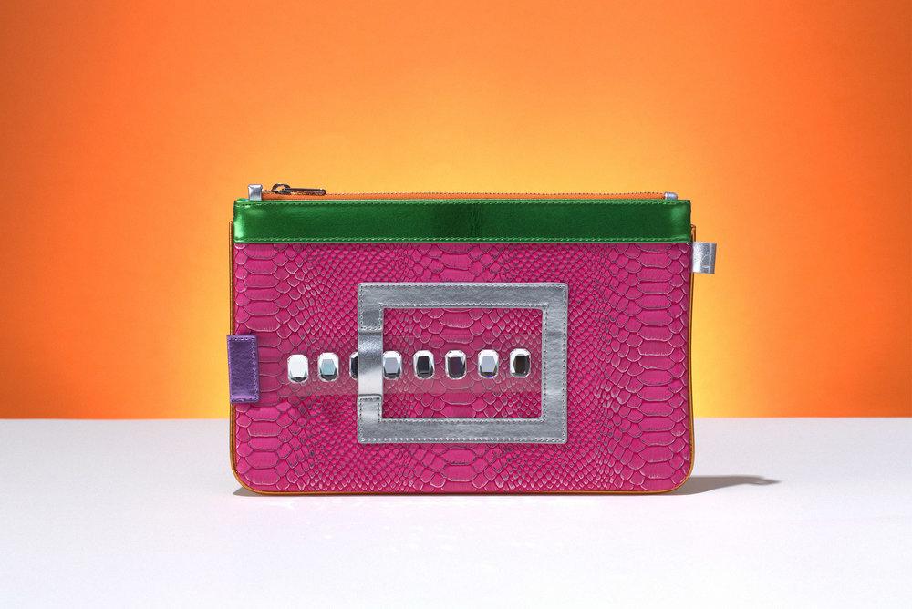 FruitenVeg-GEMINI bag-never-leather-vegetarian-mini-Ipad-bracelet-clutch-fuchsia-green-silver-bag