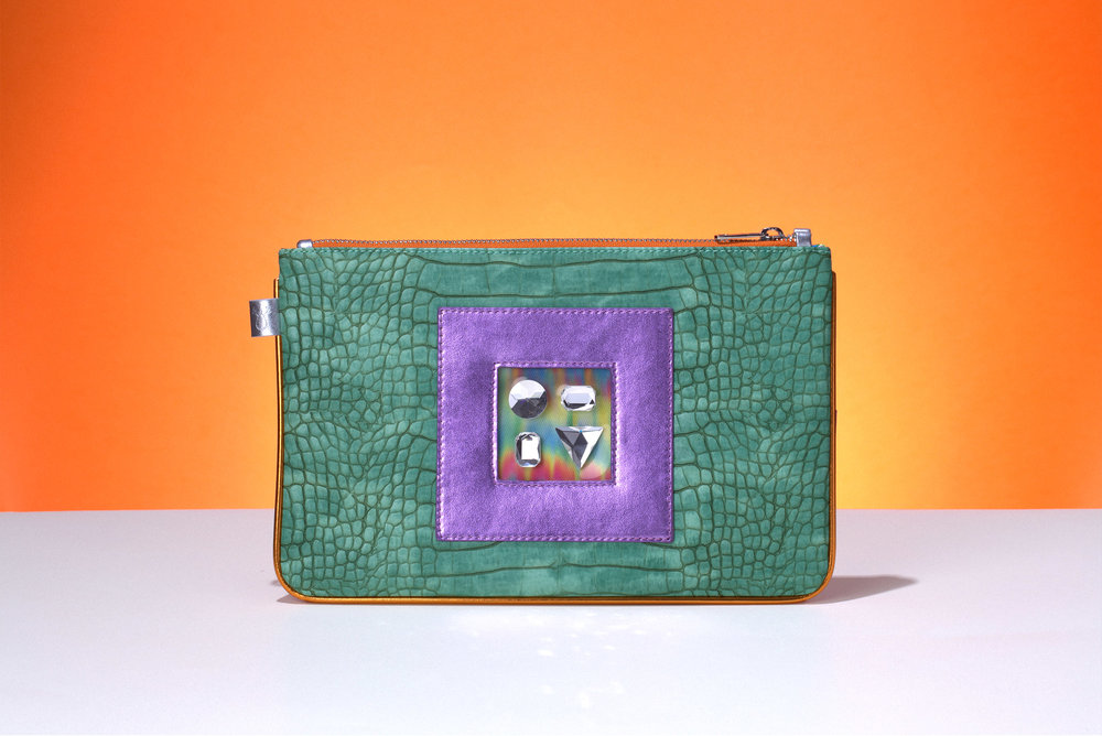 FruitenVeg-GEMINI bag-never-leather-high-end-bracelet-clutch-green-purple-rhinestones-purse