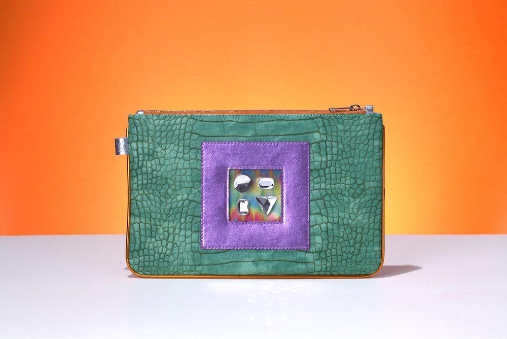 FruitenVeg-GEMINI bag-never-leather-high-end-bracelet-clutch-green-purple-rhinestones-purse
