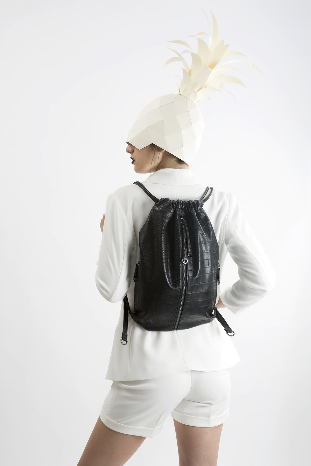 FruitenVeg-MISHI bag-never-leather-eco-croc-embossed-faux-leather-black-medium-luxury-backpack-nyc