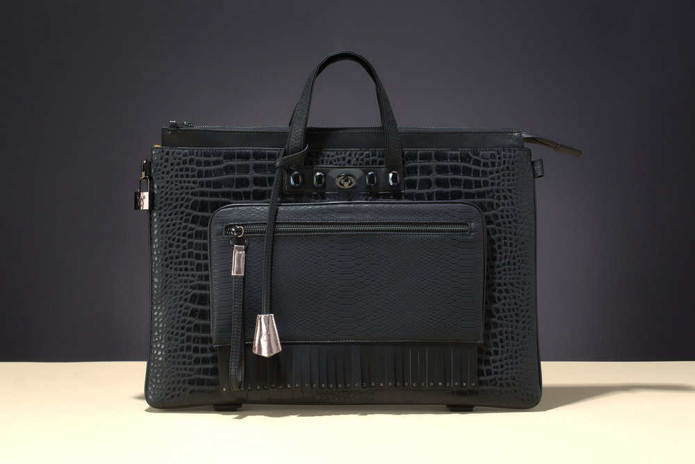 FruitenVeg-MULAYA bag-vegan-eco-leather-faux-embossed-croco-black-rhinestones-large-luxury-bag-new-york-handbag-designer