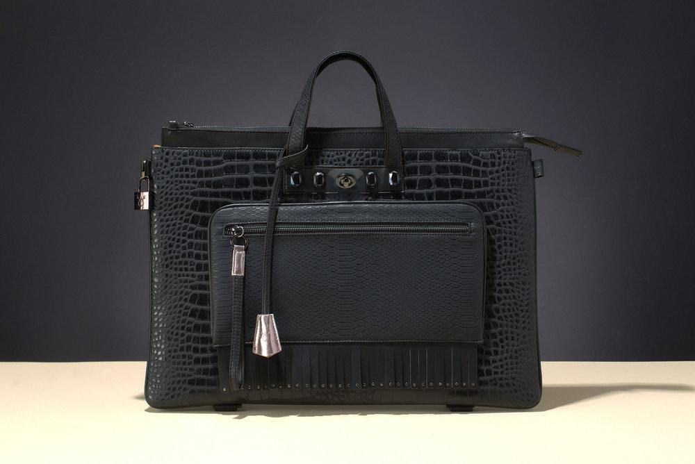 FruitenVeg-MULAYA bag-vegan-eco-leather-faux-embossed-croco-black-rhinestones-large-luxury-bag-new-york-handbag-designer