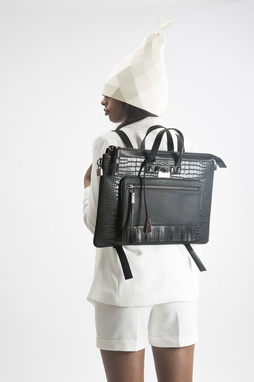 FruitenVeg-MULAYA bag-croc-embossed-vegan-eco-faux-leather-large-black-rhinestones-laptop-backpack-nyc-handbag-designer