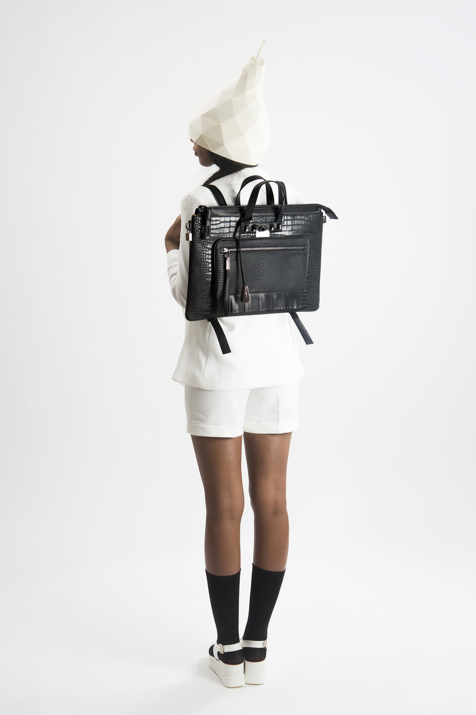 FruitenVeg-MULAYA bag-vegan-eco-leather-croc-embossed-large-black-rhinestones-laptop-backpack-nyc-handbag-designer