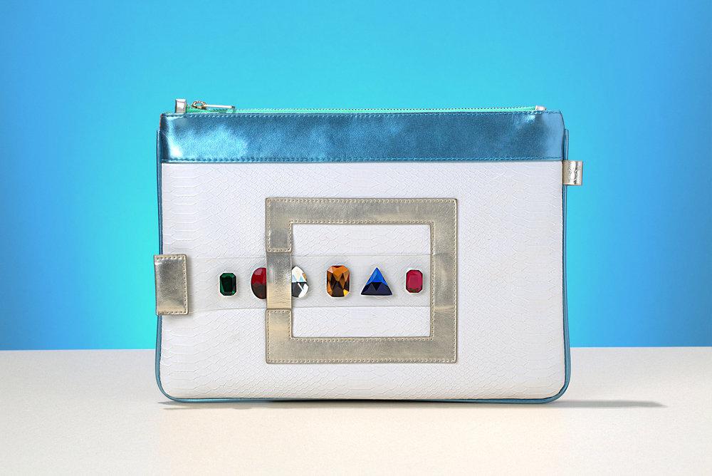 FruitenVeg-GEMA bag-never-leather-luxury-vegetarian-tablet bag-bracelet-clutch-white-turquoise-rhinestones-purse