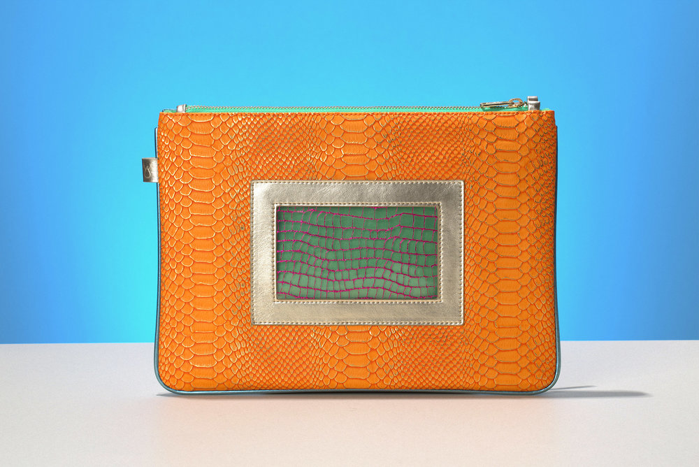 FruitenVeg-eco-non-leather-tablet bag-bracelet-clutch-orange-gold-large-bag