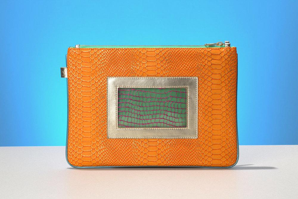 FruitenVeg-eco-non-leather-tablet bag-bracelet-clutch-orange-gold-large-bag
