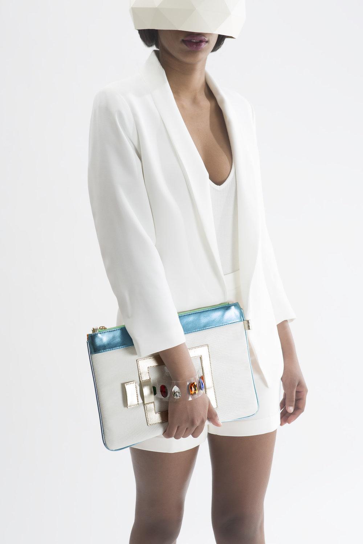 FruitenVeg-GEMA bag-never-leather-imitation-leather-luxury-Ipad bag-bracelet-clutch-white-turquoise-rhinestones-large-bag