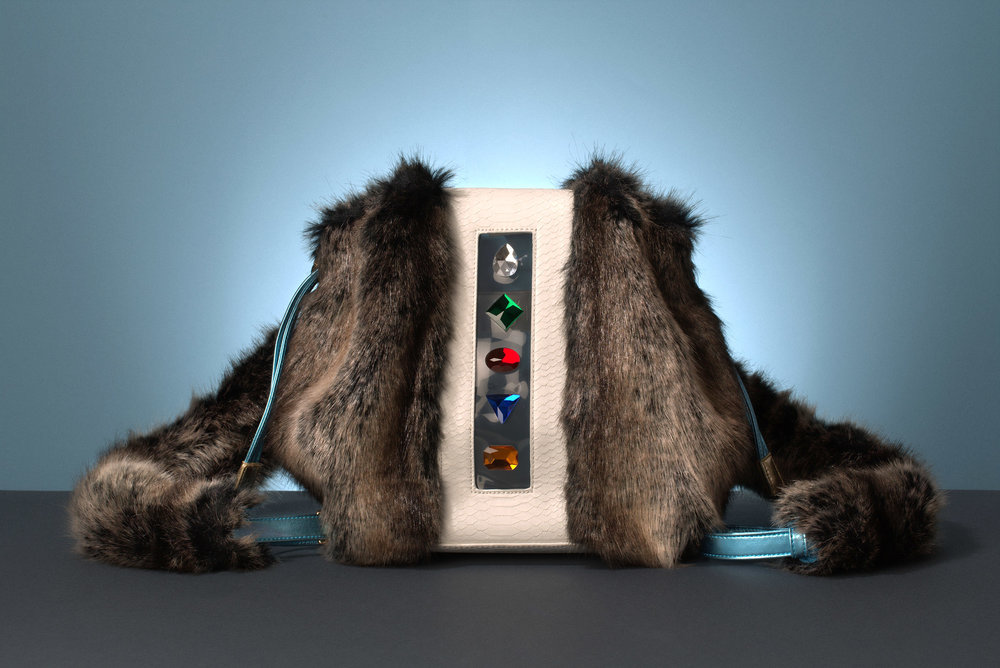 FruitenVeg-KULU bag-vegan-animal-friendly-fake-fur-high-end-big-gray-shoulder-bag-nyc-handbag-designer