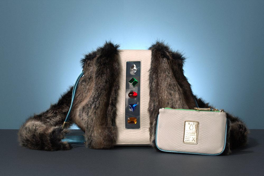 FruitenVeg-vegan-faux fur satchel-fake-fur-large-gray-tote-rhinestones-bag-nyc