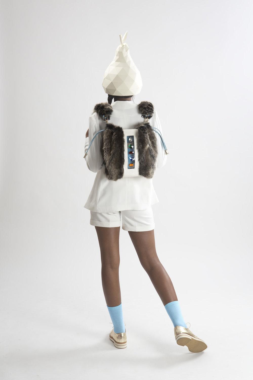 FruitenVeg-KULU bag-vegan-faux fur satchel-fake-fur-big-gray-rhinestones-sustainable-luxury-handbag-nyc