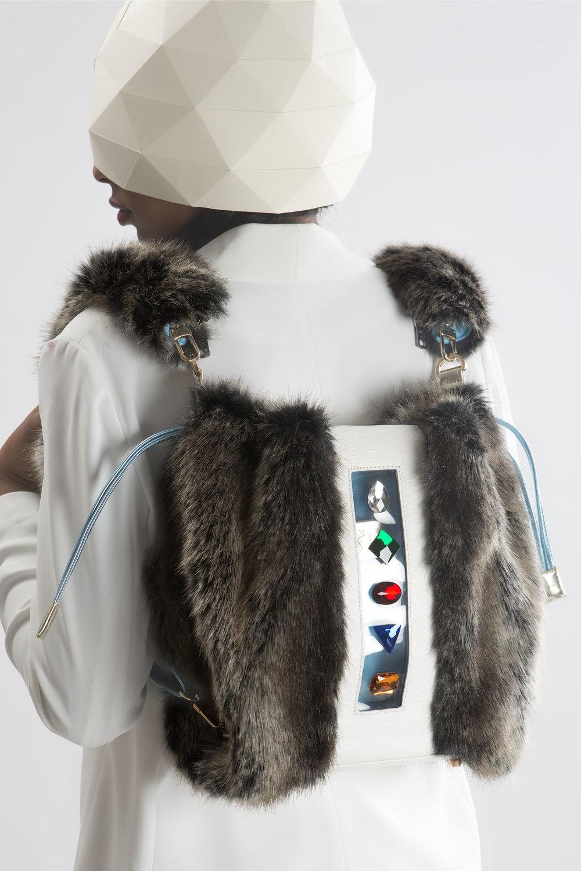 FruitenVeg-KULU bag-faux fur satchel-artificial-fake-fur-big-gray-rhinestones-high-end-backpack-new-york-handbag-designer