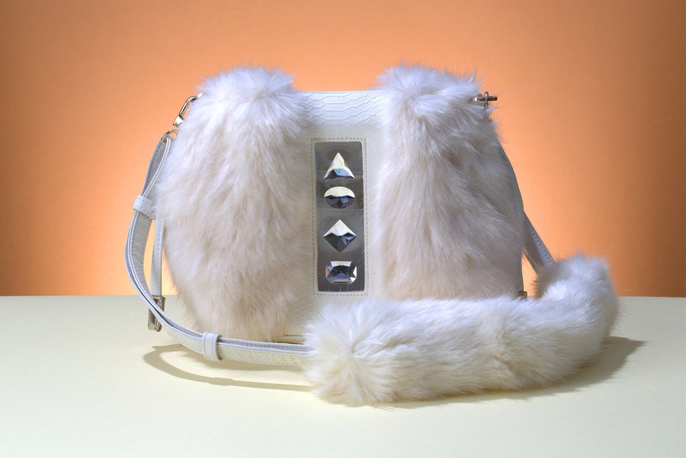 FruitenVeg-NAMI bag-never-fur-vegan-fake-faux-fur-cross-body-white-rhinestones-small-luxury-handbag-nyc