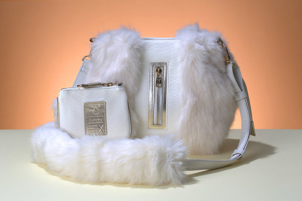 FruitenVeg-NAMI bag-never-fur-eco-leather-fake-artificial-fur-high-end-white-rhinestones-small-cross-body-handbag-nyc