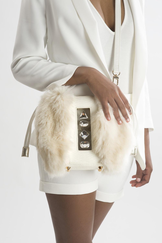 FruitenVeg-NAMI bag-never-fur-fake-faux-fur-vegan-white-rhinestones-small-cross-body-new-york-handbag-designer