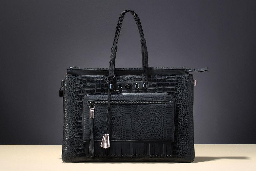 FruitenVeg-MULAYA bag-eco-vegan leather-faux-exotic-skins-large-black-rhinestones-luxury-laptop-bag-new-york-handbag-designer