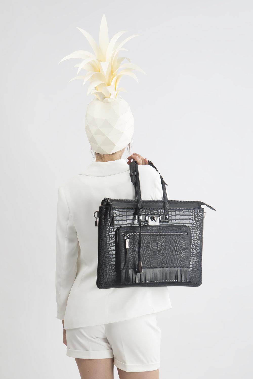FruitenVeg-MULAYA bag-eco-vegan leather-faux-exotic-skins-large-black-rhinestones-luxury-laptop-handbag-nyc