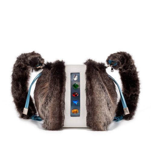 e33c73ef47 FruitenVeg-KULU bag-gray-fake-fur-rhinestones-luxury-big