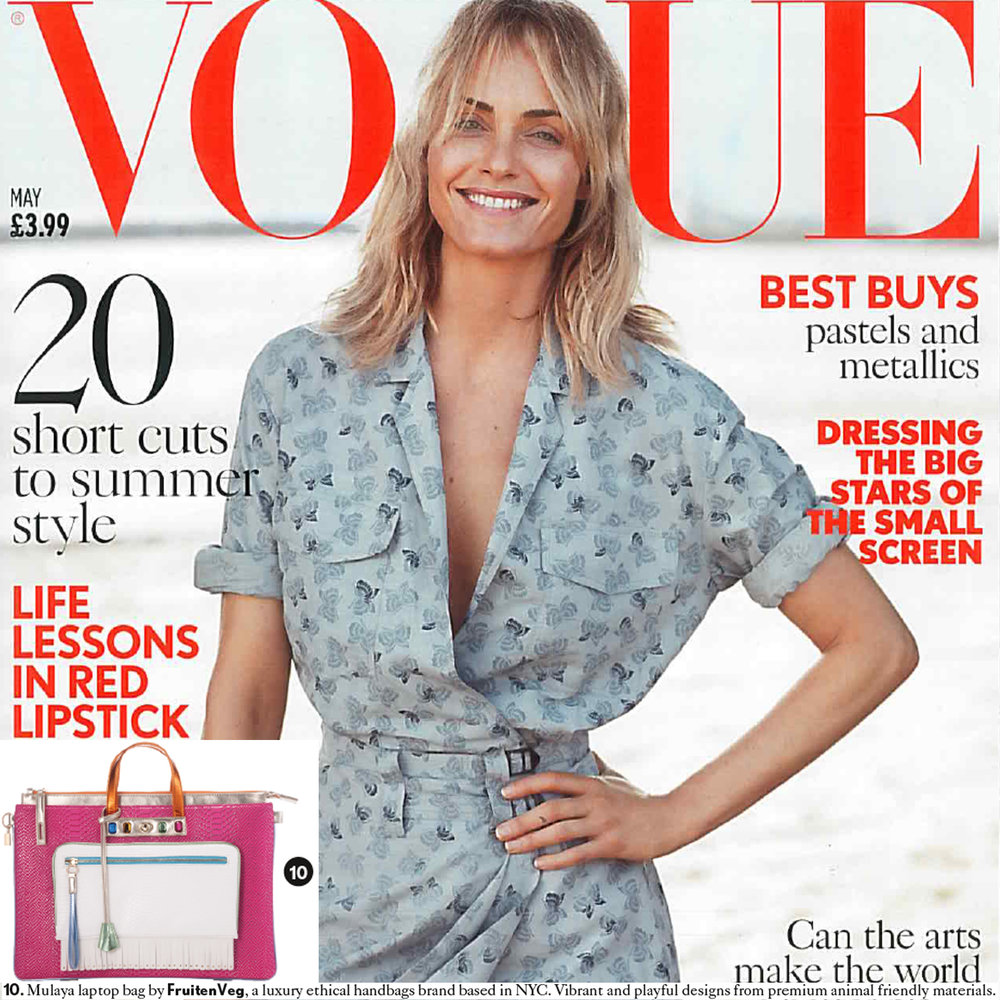 FruitenVeg Mulaya vegan leather laptop handbag in British Vogue