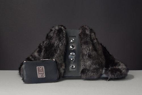 FruitenVeg-KULU bag-vegetarian-faux fur satchel bag-fake fur-black 89a46a570b41a