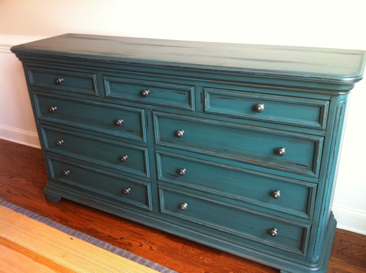 Distressed Peacock Blue Buffet w/ Dark Wax
