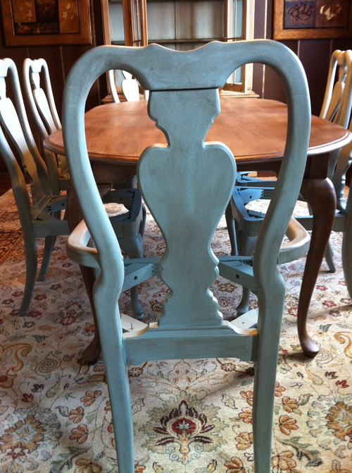 Aqua aged dining chair