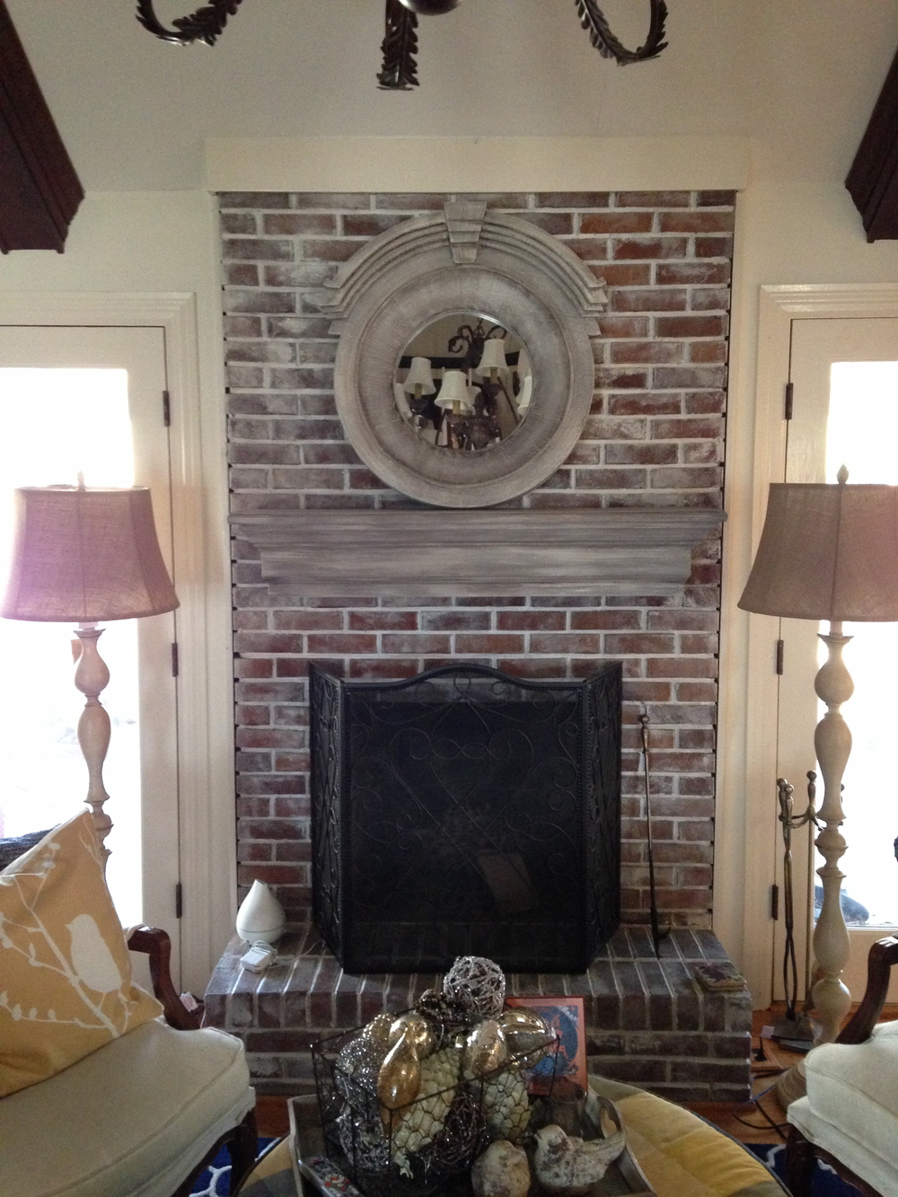 White Washed Brick + Mantle
