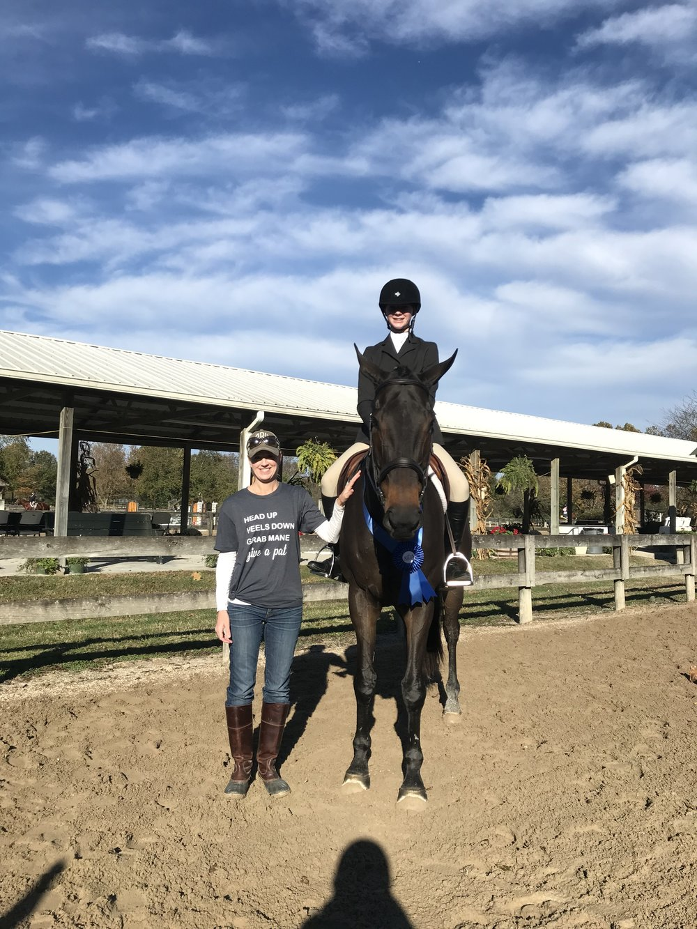 Lillian's mother Mandy wore very appropriate attire for Lillian's equitation win!