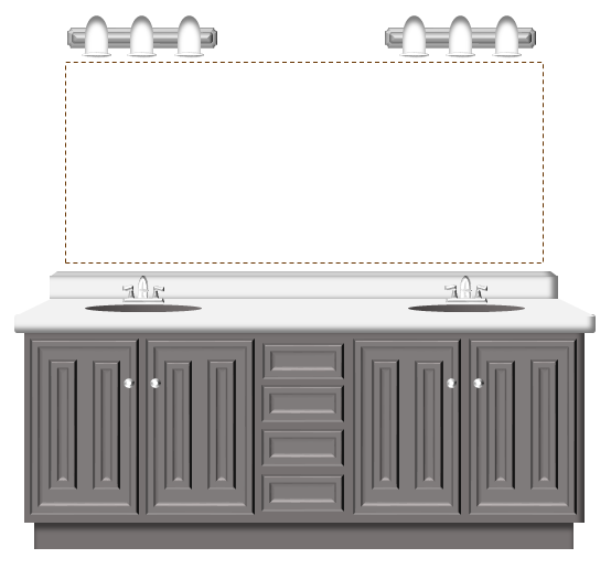 double vanity with two mirrors. a double vanity with two light fixtures gives you the option of having one large mirror or smaller mirrors. mirrors