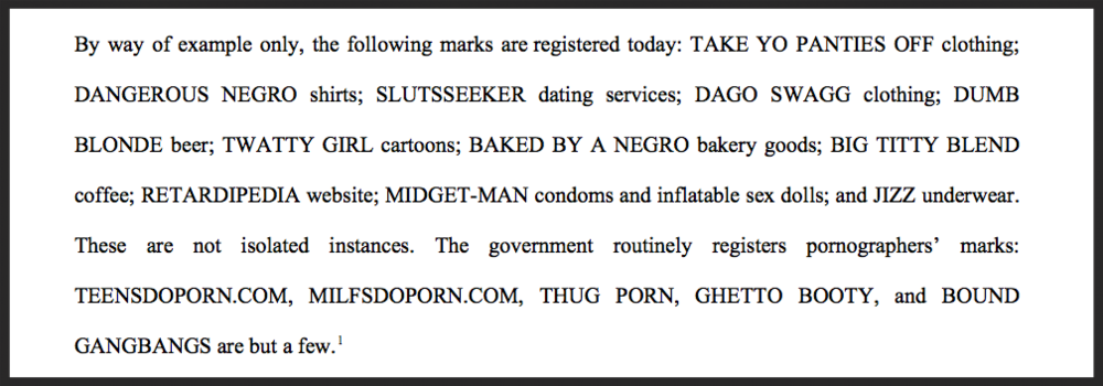 An actual (now infamous) excerpt from the opening brief of the Redskins' appeal— and there's more