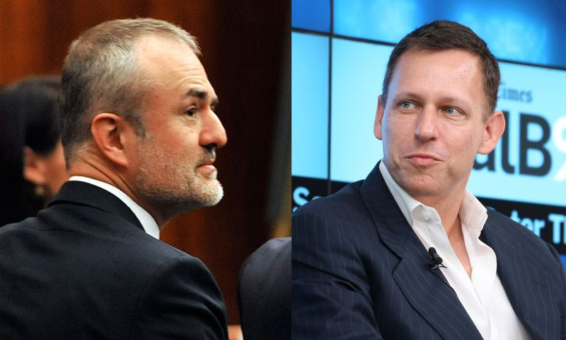 Gawker founder Nick Denton (left) and tech billionaire Peter Thiel