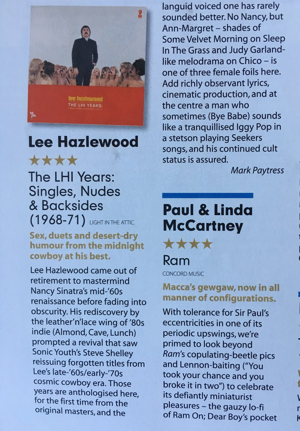 Lee Hazlewood The LHI Years: Singles, Nudes & Backsides (1968-71)  Mojo Magazine  #223 June 2012