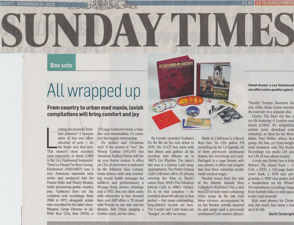 Lee Hazlewood There's A Dream I've Been Saving: Lee Hazlewood Industries  Sunday Times  London Nov. 24, 2013