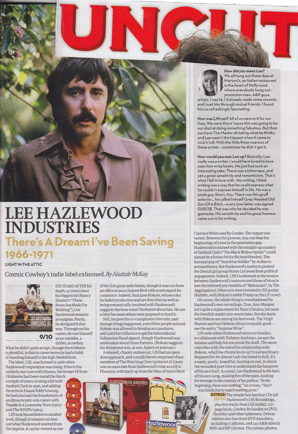 Lee Hazlewood There's A Dream I've Been Saving: Lee Hazlewood Industries,  Uncut , Jan. 2014
