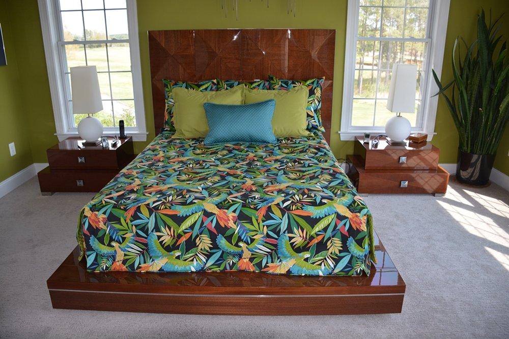 Custom bedding with contrast shams.