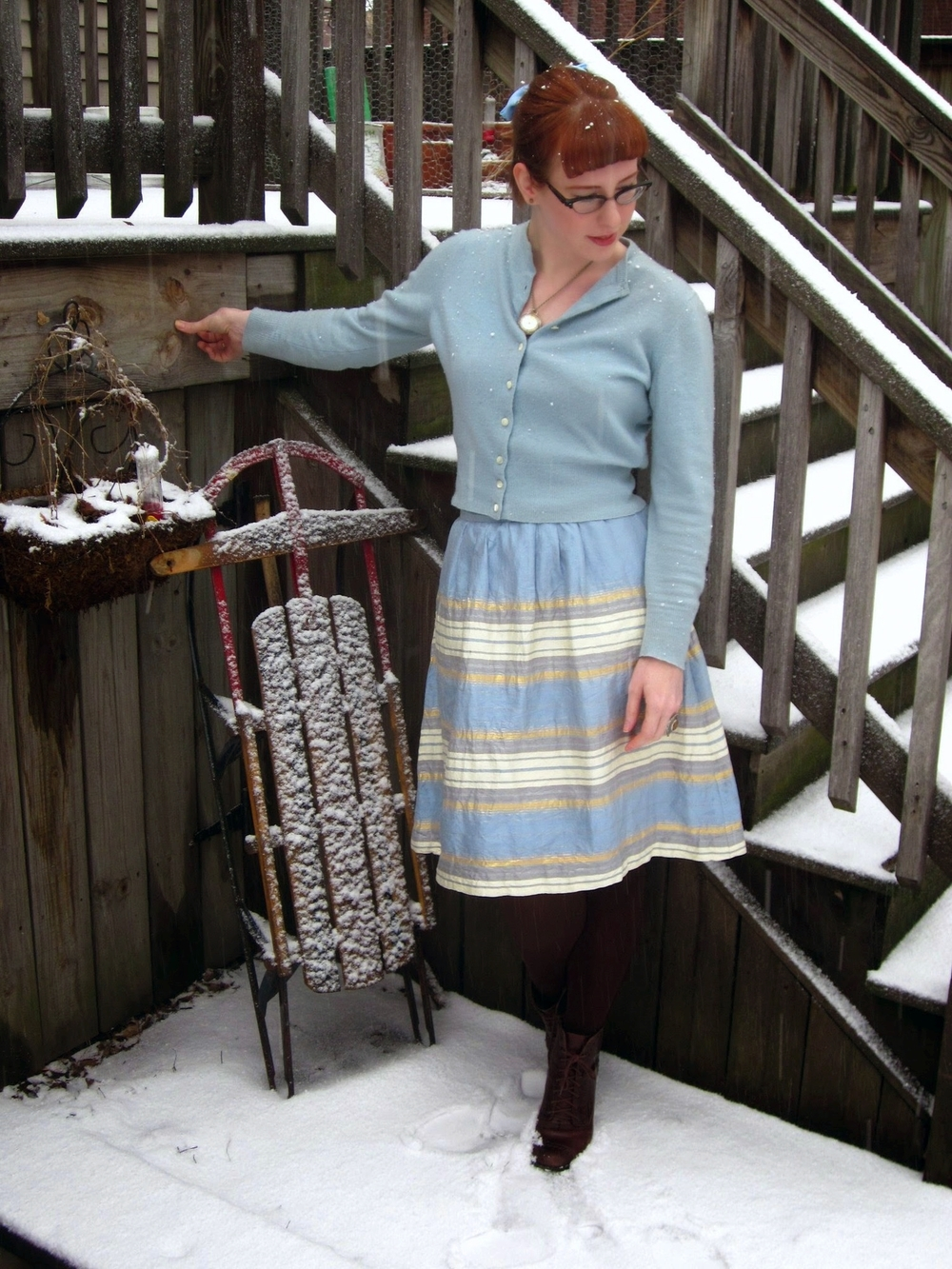 Sweater: vintage Underground chicago/ skirt:  veryvintagestore on etsy / boots: Seychelles