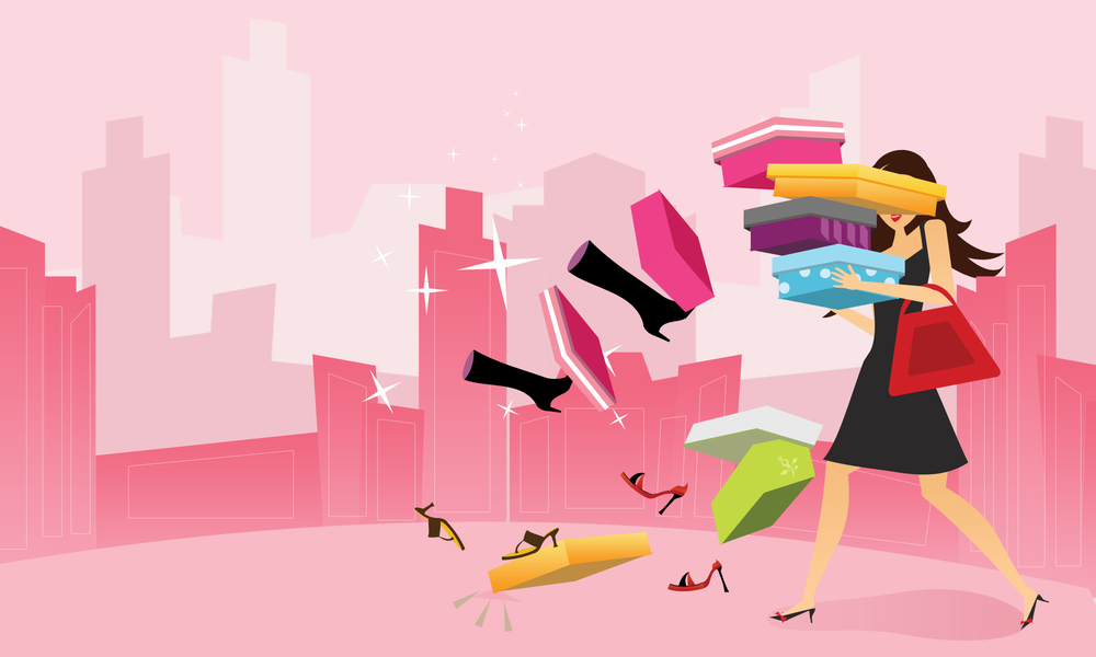"If you do a Google Image search for ""shopaholic,""  everything  is pink. Apparently shopping too much is 1) Super Cute! and 2) something only women do."
