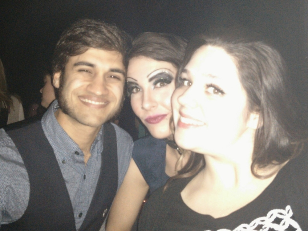 She's the one in the middle. She doesn't usually rock the Rocky Horror makeup, but I'm thinking maybe she should...