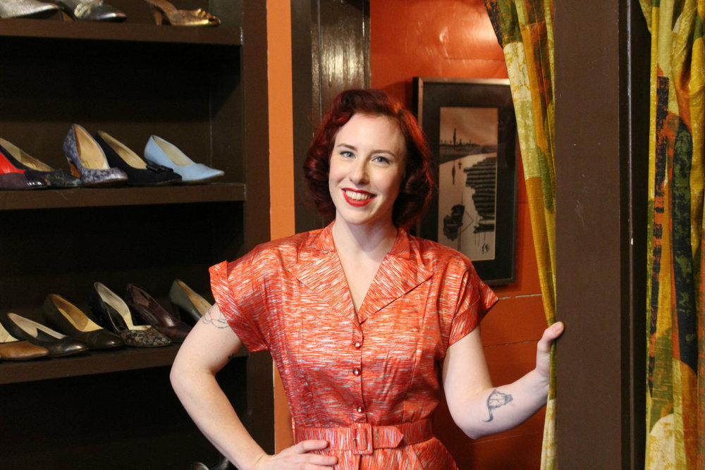 A stunning 1950s silk dress in orange and silver - $90 at Knee Deep Vintage.