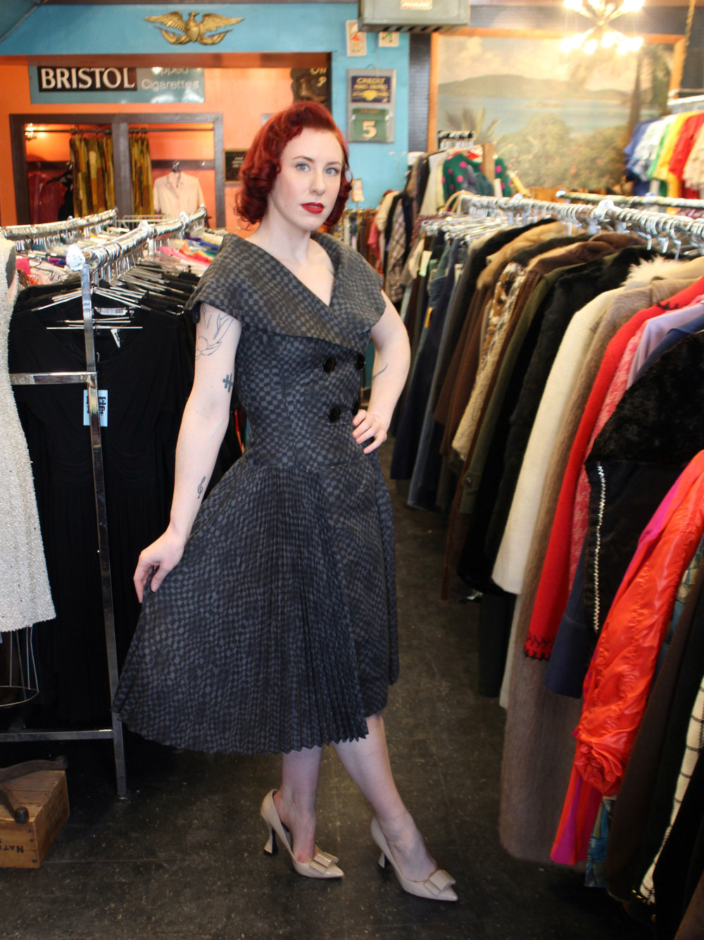 Pleated checkerboard print 50s dress - $80. No joke, I put this one on hold after trying it on. It will be mine!