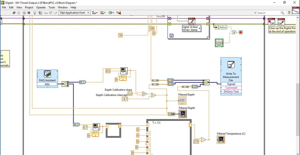 12/17: LabVIEW program. Nearly finished with adding in all necessary blocks for the final functionality of the submersible. Using a closed control system, the robot will descend to a given depth, stabilize, and measure both temperature and pressure along the way.