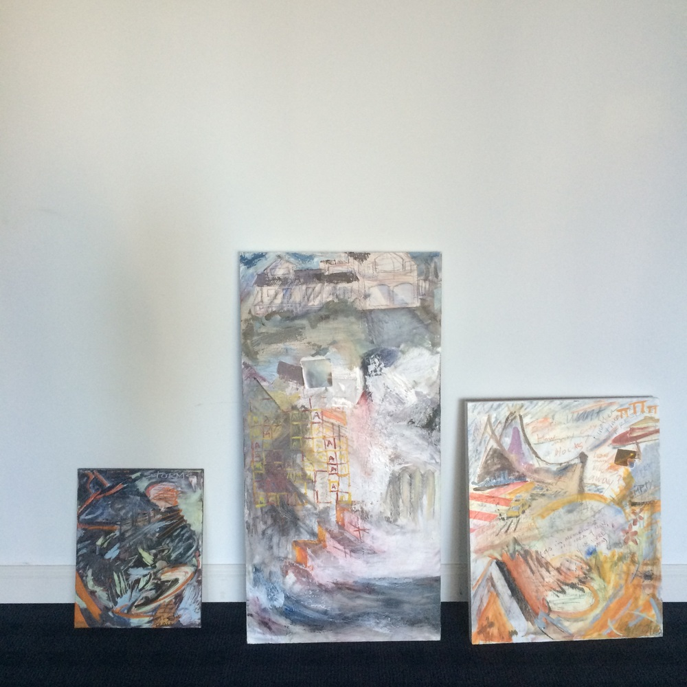 My pieces, waiting to be hung at Flock Gallery.