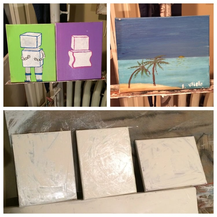 TOP : the three canvases used in  Keep These in Mind (a triptych) as they looked when I bought them from Saver's for ninety-nine cents each.   BOTTOM : waiting for the primer to dry - the first step in creating the finished work.